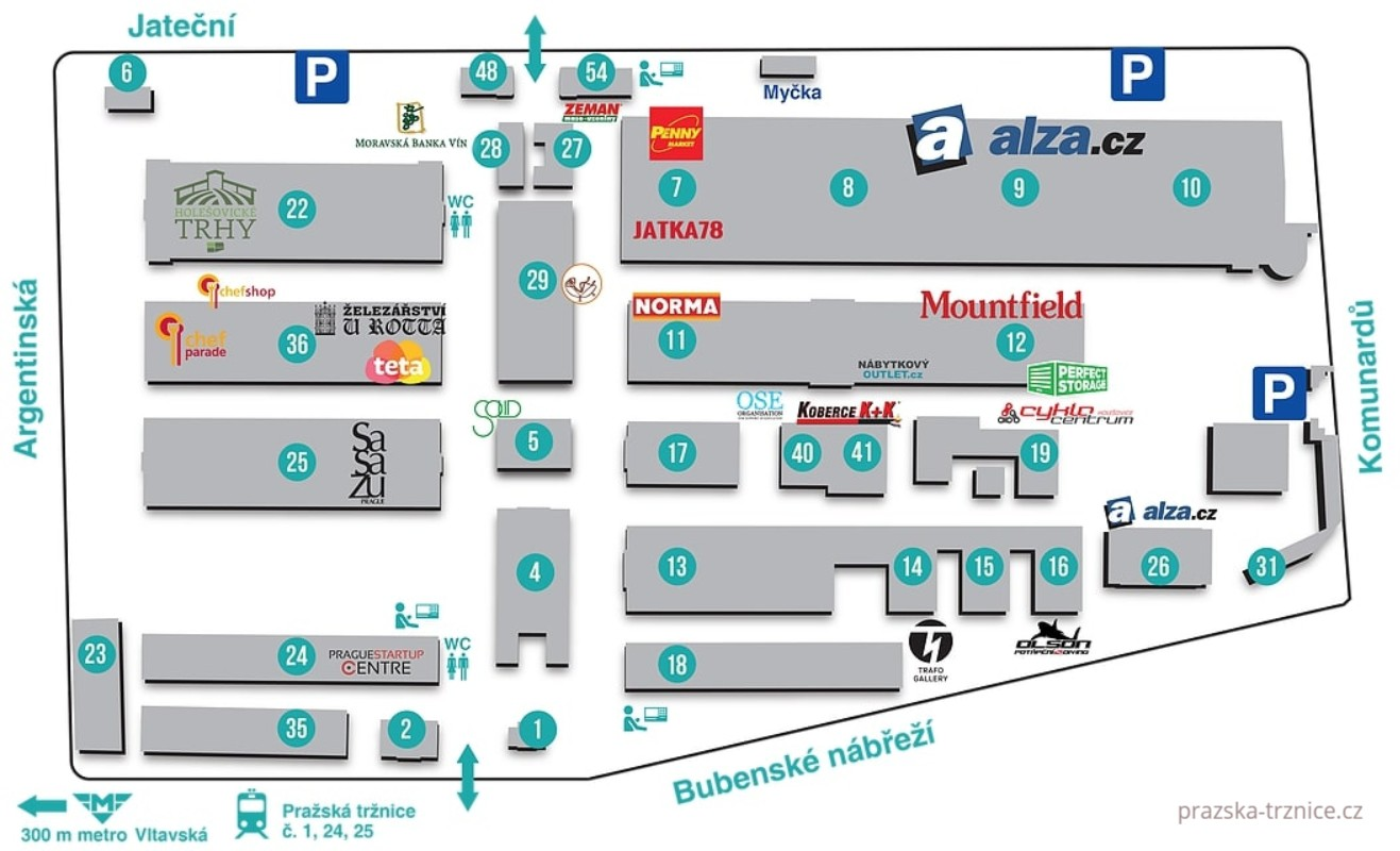 Схема Пражского рынка в Праге