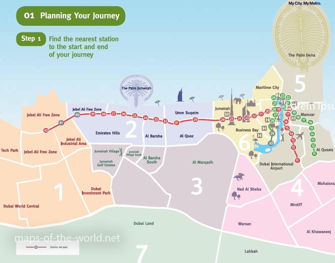 Карта общественного транспорта дубай фонтан в дубай молле