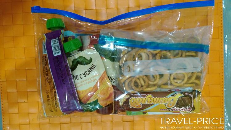 Еда в прозрачном пакете